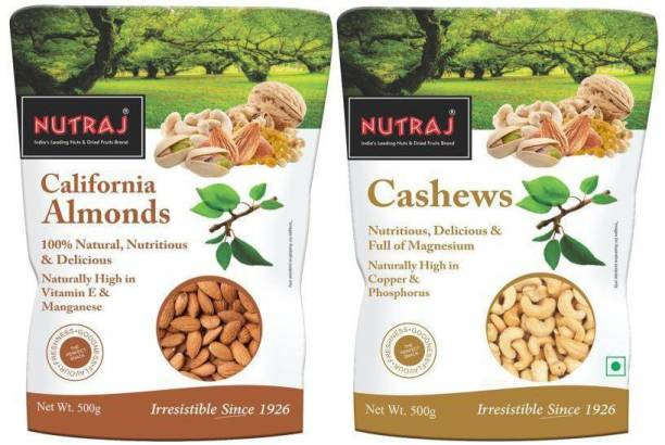 Nutraj Daily Needs Combo Pack of 2 (500gm Each) Cashews, Almonds