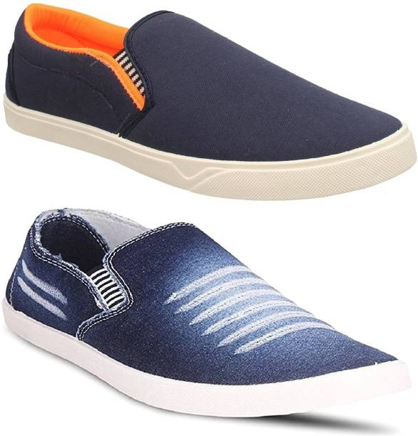 b8de3a0a2e5 Pexlo Combo pack of 2 Men s Casual Shoes (Loafers and Moccasins Shoes)  Canvas Shoes