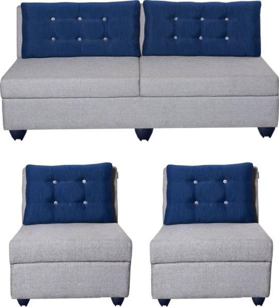 Bharat Lifestyle Parker Fabric 3 + 1 + 1 Light Grey Sofa Set