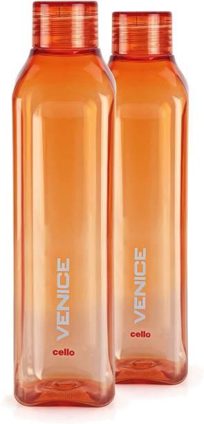 805b1a0809 Cello Venice Plastic Water Bottle, 1 Litre, Set of 2, Orange 1000 ml