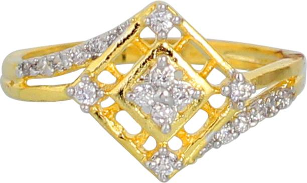e3ec4a890 Touchstone Touchstone Gold Plated Austrian Diamond Ring Brass Cubic  Zirconia Rhodium Plated Ring