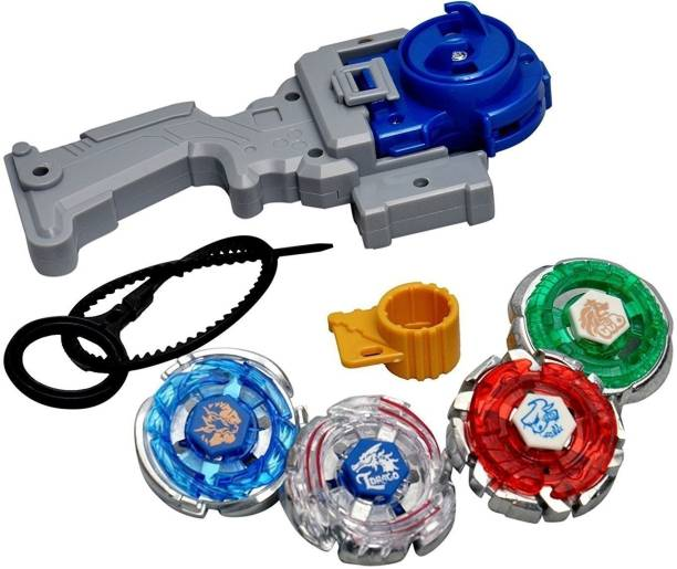TEMSON 4 in 1 Beyblades Metal Fighter Fury With Metal Fighting Ring and Handle Launcher