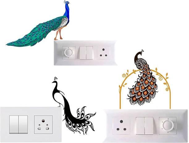 Pixel Print Small 'Beautiful Peacock' Light Switch Board Decor Wall Decals/ Wall Sticker (PVC Vinyl, Set Of 3)