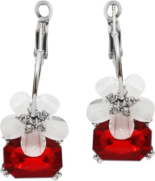 9936af24a Popmode Popmode Monica dangler earrings with rhinestone, flower and ruby  Ruby Alloy Drop Earring