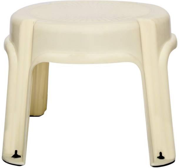 Clastik Multi Purpose Plastic Round Stool (4 Legs) Ivory Hospital Food Stool