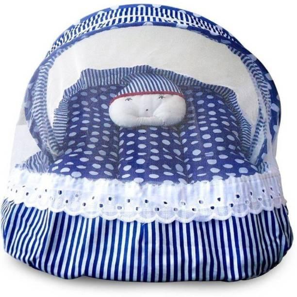babique Cotton Infants Blue Cotton Bedding Set (Blue) Mosquito Net