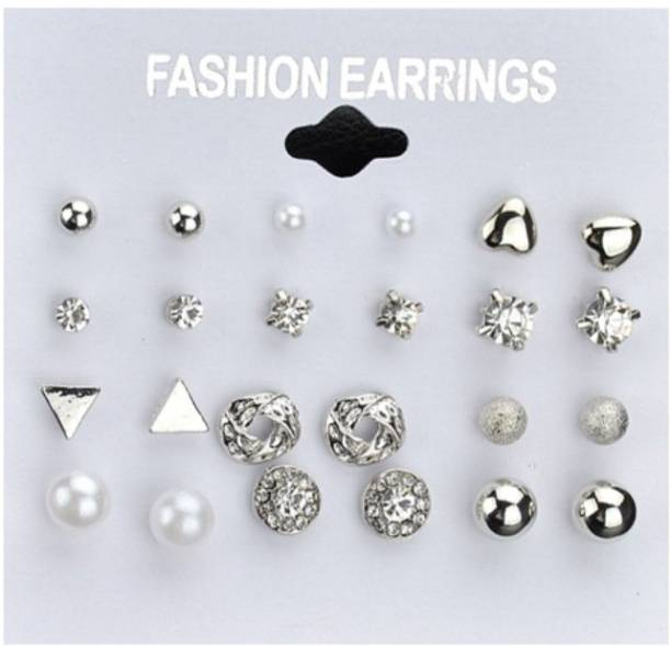 e0767567fa6 DALUCI 12 pair set Women Square Crystal Heart Stud Earrings for Women  Piercing Simulated Pearl