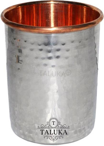 """TALUKA (4"""" x 3"""" Inches) Stainless Steel Copper Hammered Glass 300 ML Round Water Serving Purpose Glass Tumbler Drinkware Good Health Benefits Yoga Ayurveda Glass"""
