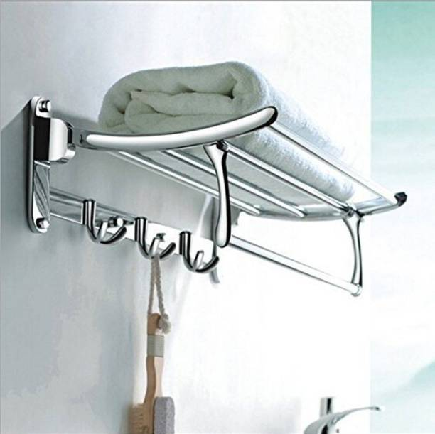 "Garbnoire stainless steel folding towel rack 18"" (inch) chrome finish wall mounted folding towel rack for bathroom Silver Towel Holder"