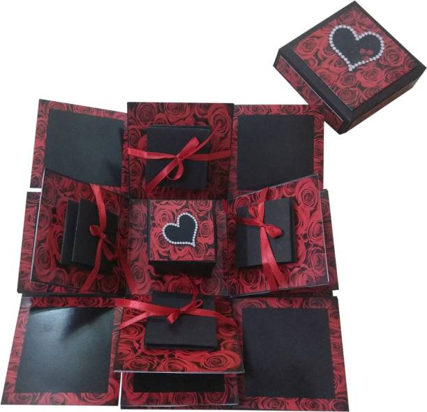 Easycraftz 3 Layered Romantic Explosion Box - Red Roses Greeting Card Greeting Card