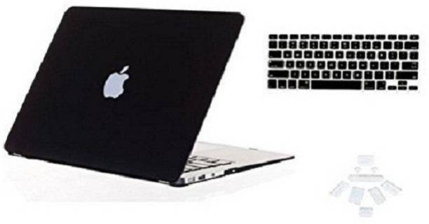 """Midkart Smooth Matte Jet Black for MacBook Air 13"""" 13.3 Inches Model A1369 / A1466 With Logo Cut, Silicon Keyboard & Dust Plugs Hard Shell Rubberized Finish Case Cover Combo Set"""