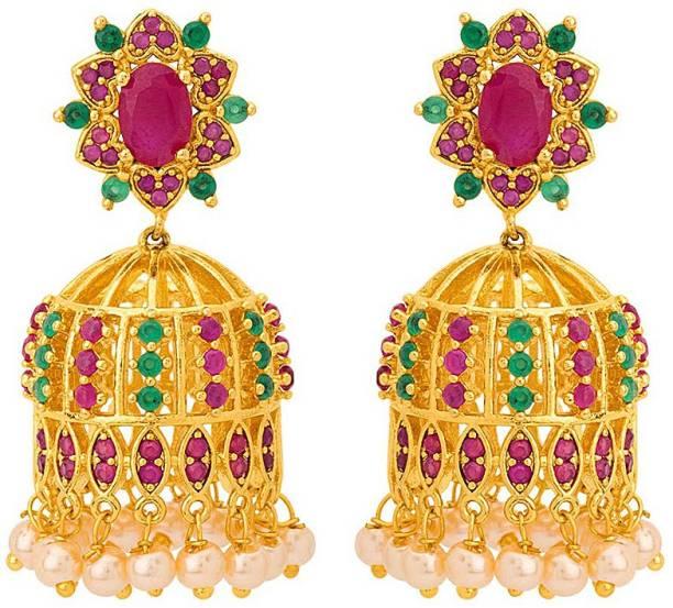 0222d04ec Voylla Swarnam Gold Plated Jhumka Earrings Cubic Zirconia Brass Jhumki  Earring