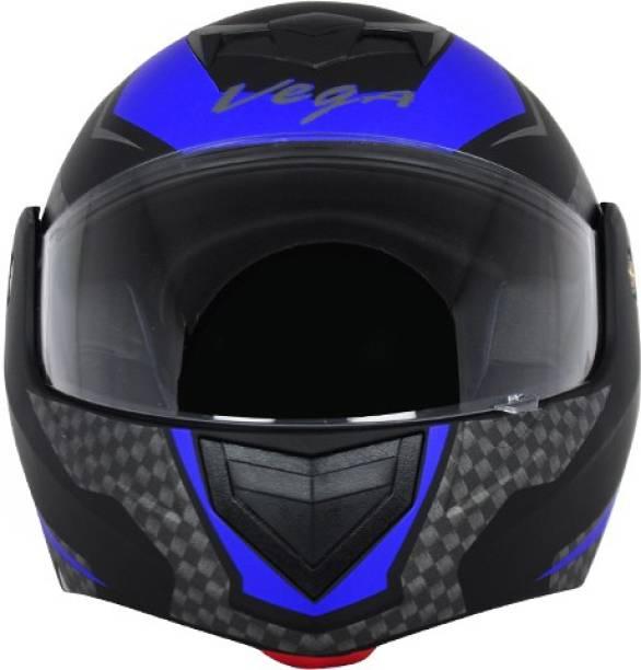VEGA CRUX DX CHECKS DULL BLACK BLUE HELMET Motorbike Helmet