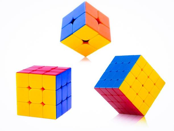 D ETERNAL Cube combo of 2x2 3x3 4x4 cube high speed stickerless magic cube Brainstorming Puzzle Cube combo 3 Game Toy (3 Pieces)