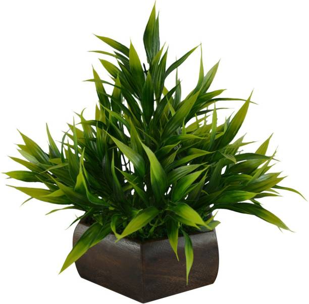 fancymart Bamboo Leave Artificial Plant Green Wild Flower Artificial Flower  with Pot