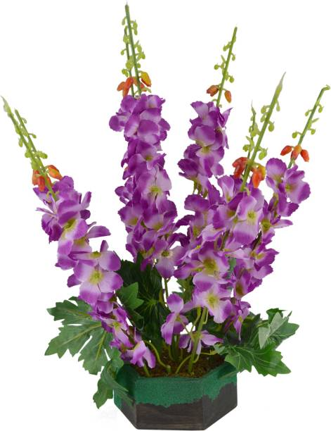 DecoreBugs arrangement of Orchid Flowers Purple Orchids Artificial Flower with Pot