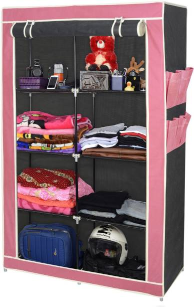 86775503f7 ARSH AW138 Maroon & Black-High Capacity Upto 70Kgs Polyester Collapsible  Wardrobe