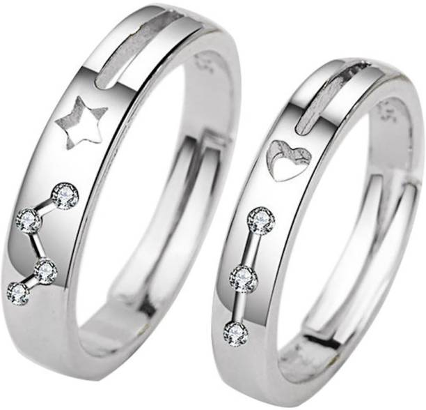 81f45728b osw jewel Sterling Silver Heart Shaped Couple Rings Five-Pointed Star  &Zircon Finger Ring for