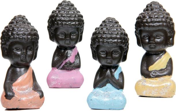 AapnoCrafts New and Improved Set of 4 Child Monk Decorative Showpiece  -  8 cm