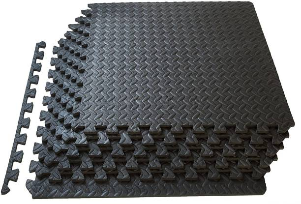 KOBO Puzzle Exercise Mat, EVA Foam Interlocking Tiles, Protective Flooring for Gym and Cushion for Workouts (6 Feet x 4 Feet) Black 12 mm Exercise & Gym Mat