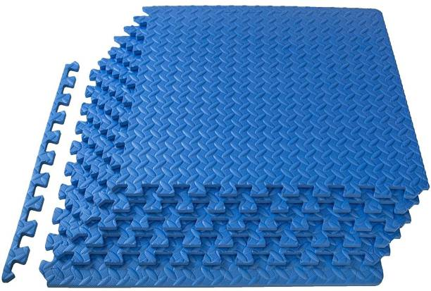 KOBO Puzzle Exercise Mat, EVA Foam Interlocking Tiles, Protective Flooring for Gym and Cushion for Workouts (6 Feet x 4 Feet) Blue 12 mm Exercise & Gym Mat