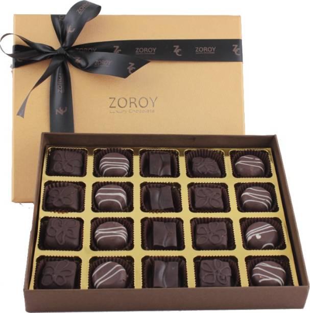 Zoroy Luxury Chocolate Box of 20 Dark pralines Fudges