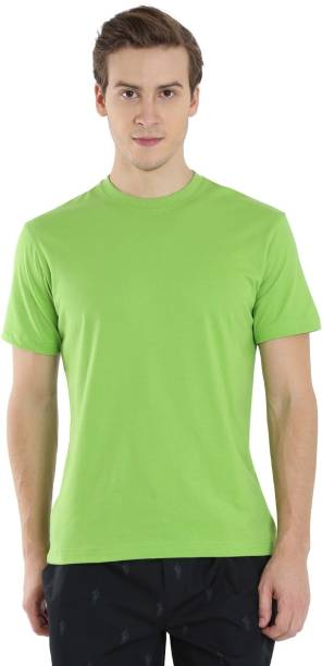 55413848 Jockey Solid Men's Round Neck Green T-Shirt