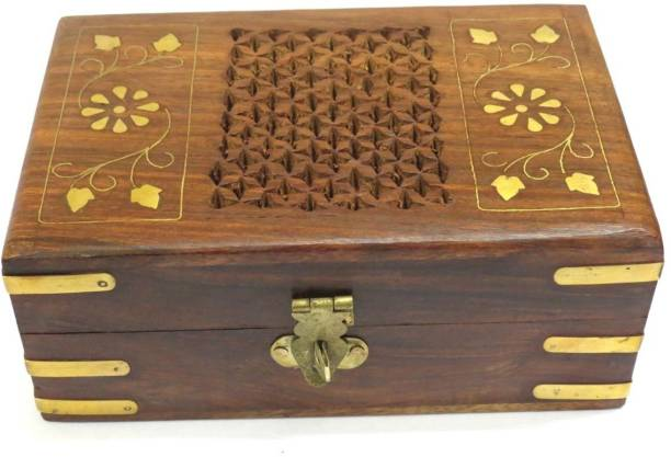 WoodCart Handmade Wooden Vanity Box Jali Brass Design 6inch Multi-purpose Vanity Box
