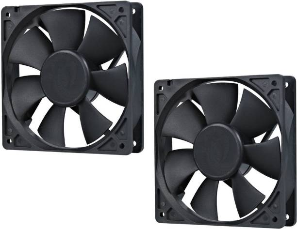 """Brand one DC Axial Case Cooling Fan. SIZE : 3.35"""" inches (8x8x2cm), (80x80x20mm), SUPPLY VOLTAGE : 12VDC, Material : Plastic P.B.T., Color black (pack of 2) Cooler"""