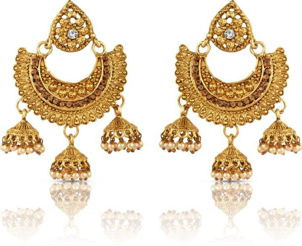 c876001a2 Sapna FX Sapna FX Antique Traditional Gold Plated Multicolour Stone & Pearl  Chandbali Jhumkis-465