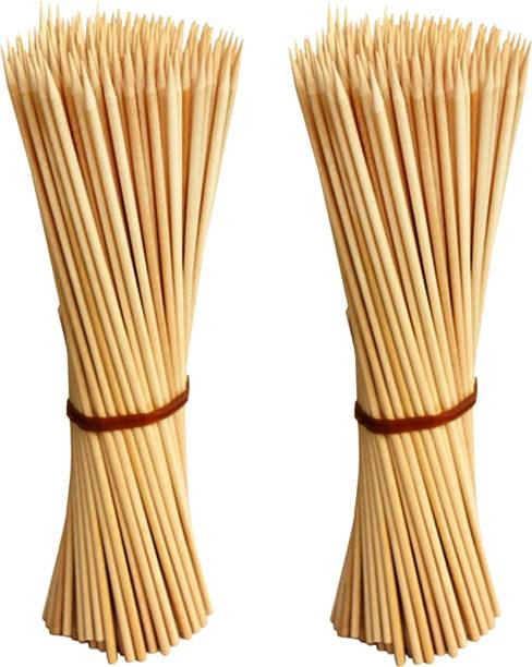 Jamboree kebab stick, roast stick, Bamboo Skewers Chocolate Fountain Wooden Fruits BARBECUE Kebab Stick Party Buffet Food Disposable Wooden Roast Fork Set (Pack of 200) Disposable Bamboo Roast Fork