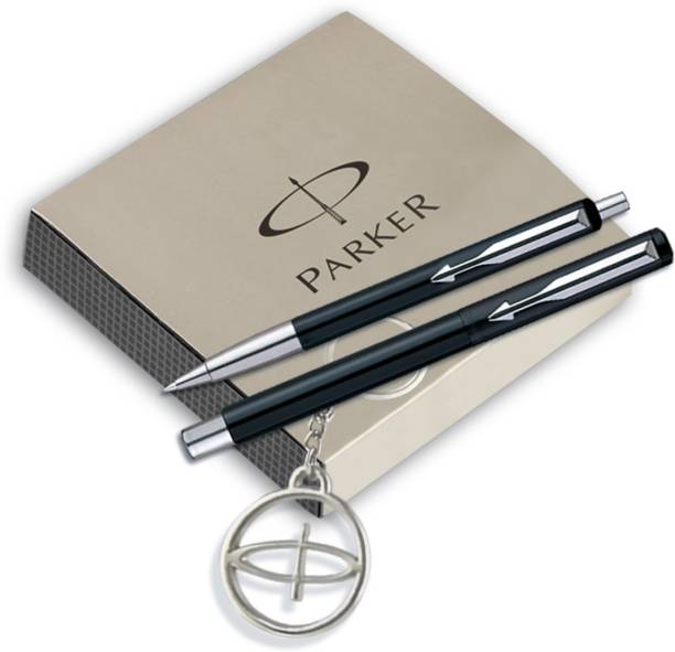 PARKER Vector Standard Roller Ball pen +Ball pen Black body with free Parker Key Chain Pen Gift Set