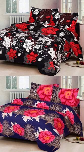 Swiss India 144 TC Polycotton Double Floral Bedsheet