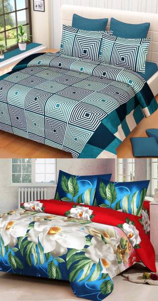 Swiss India 180 TC Polycotton Double 3D Printed Bedsheet