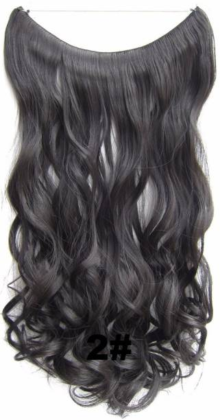 Ritzkart Heat Resistant Secret Elasticity wire 20- 22 inch long Synthetic wavy Curly  Extension Hair Extension