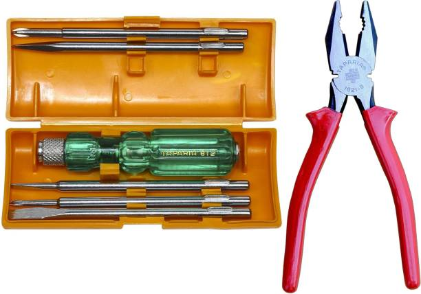 TAPARIA 812 screwdriver set and 8 inch cutting plier pack of 2 Lineman Plier