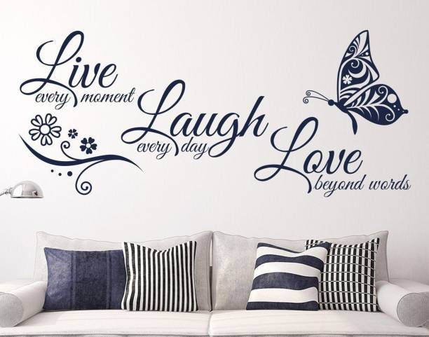 Pixel Print Medium Wall Sticker 'Live, Laugh & Love' Size 122X76Cm
