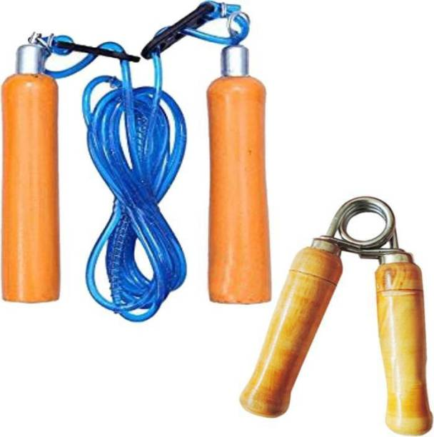 Monika Sports wooden skipping rope + wooden hand grip Gym & Fitness Kit