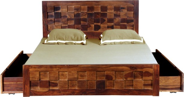 Vintej Home Prague Drawer Sheesham Solid Wood Queen Drawer Bed