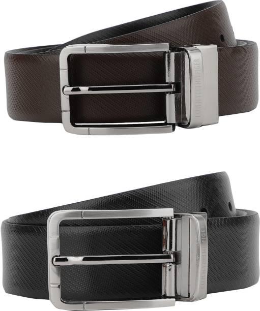 57e2a3fb7 Tommy Hilfiger Men Formal Brown, Black Genuine Leather Reversible Belt