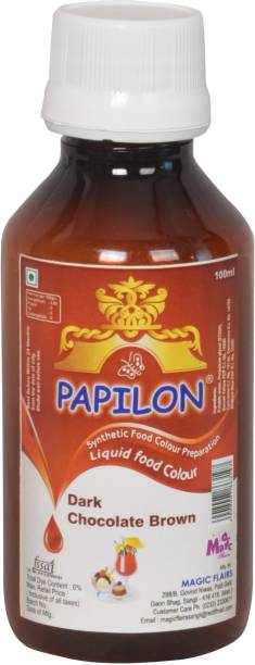 PAPILON CONCENTRATED FOOD COLOUR PREPARATION DARK CHOCOLATE BROWN 100 ML. Brown