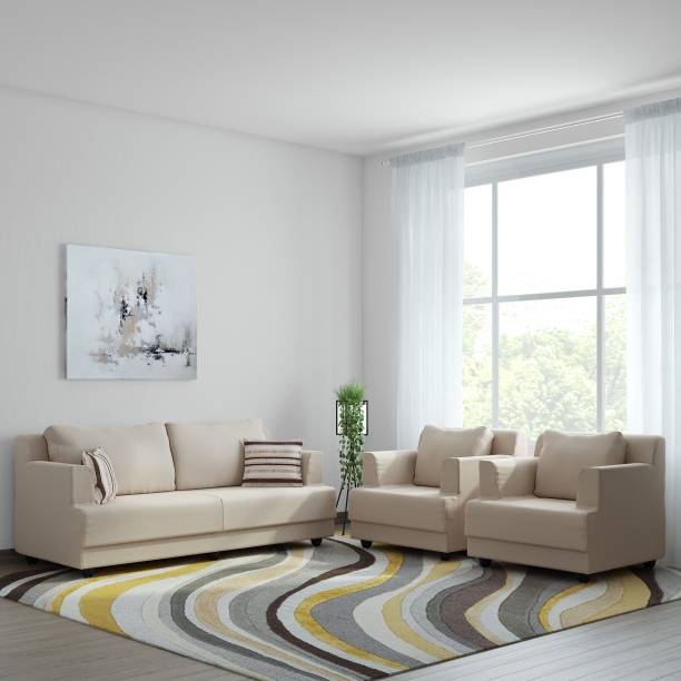 Bharat Lifestyle Marina Fabric 3 + 1 + 1 Cream Sofa Set