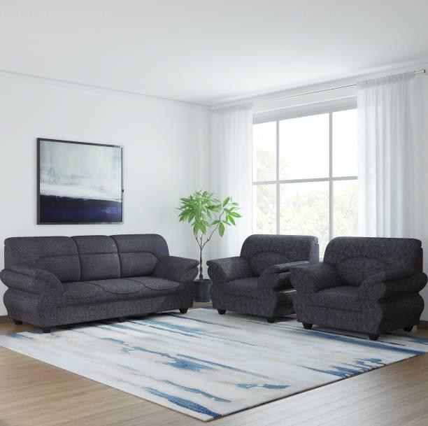 Bharat Lifestyle 107 Fabric 3 + 1 + 1 Dark Grey Sofa Set
