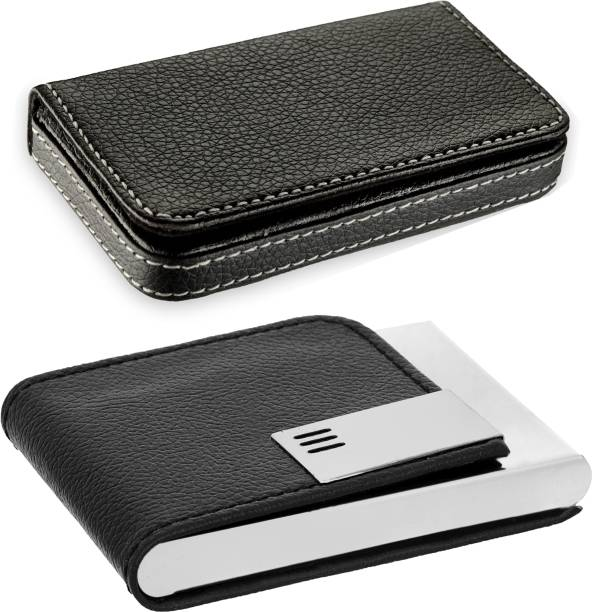 Card holders buy card holders online at best prices in india flipkart smartbuy high quality pack of 2 stylish full black leatherite and leatherite piece reheart Choice Image