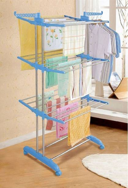 Sukot SPANISH 3 TIER DOUBLE POLL FOLDABLE AND MOVABLE CLOTH RACK Stainless Steel Floor Cloth Dryer