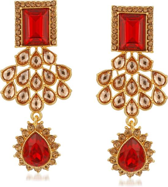 3f1f9de55ef Rich Lady Rich Lady Gold Plated Stylish Party Wear With Red Stone Classy  Earrings For Women