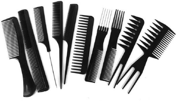 FOK Set of 10 Pcs Multipurpose Salon Hair Styling (41*25) cm Hairdressing hairdresser Barber Combs Professional Comb Kit