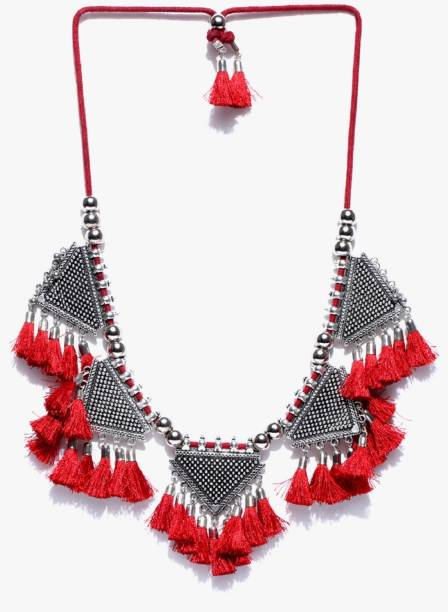 38dc4a844 GLAMWARS GLAMWARS tribal red tassel choker bohomien afghani style necklace  Alloy