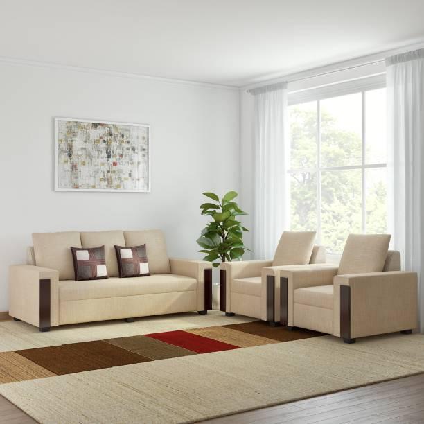Bharat Lifestyle Ocea Fabric 3 + 1 + 1 Cream Sofa Set