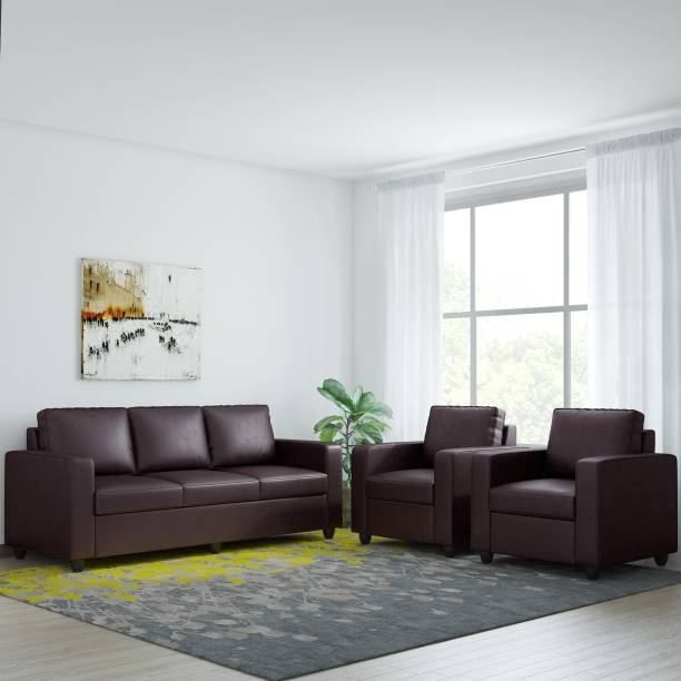 Bharat Lifestyle Victoria Leatherette 3 + 1 + 1 Brown Sofa Set